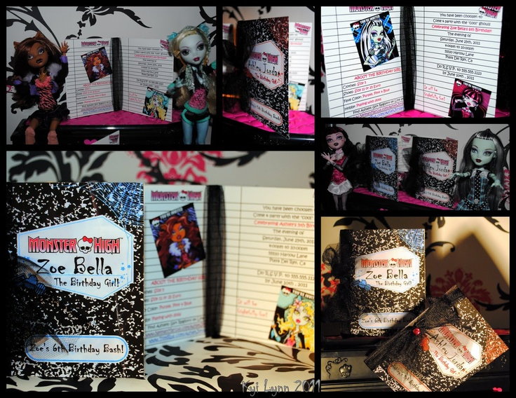 Monster High Party: Mh Party, Monsterhigh Life, High Monsterhigh, Book Invitations, High Birthday, Monsterhigh Invitations, Notebooks Invitations, Birthday Party, Monsters High