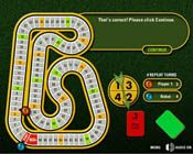 """This is an image from this resource on the Internet4Classrooms' """"Fifth Grade Interactive Math Skills - Decimals"""" resource page:    Decimal Speedway.    [Game for one or two players] The number line is in the form of a race track, students must multiply decimals and then locate the correct point on the track (number line).(This game requires the Shockwave Plug-in.)"""
