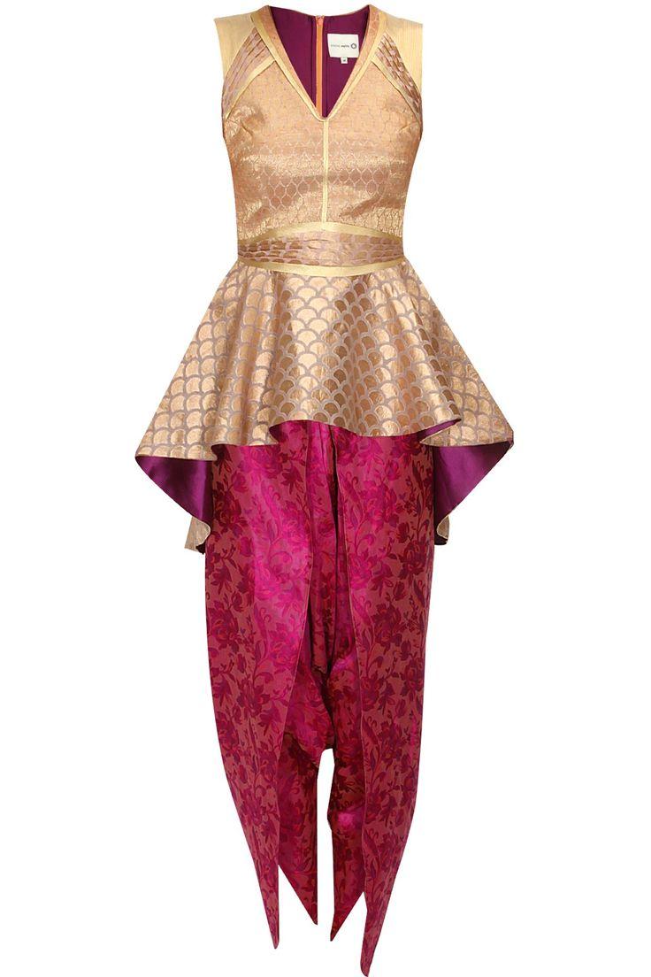 Audrey gold peplum kurta with pink dhoti pants available only at Pernia's Pop Up Shop.