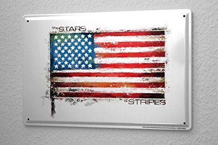 Cartello Targa In Metallo Della Decorazione Della Parete Avventuriero bandiera americana Piastra Insegna Metallica 20X30 cm