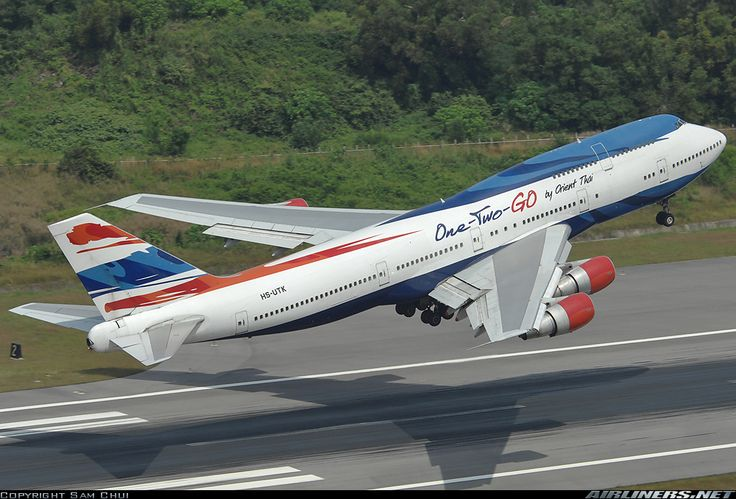 One-Two-Go (Orient Thai Airlines) Boeing 747-306M (registered HS-UTK) departing Phuket (Airliners.net)