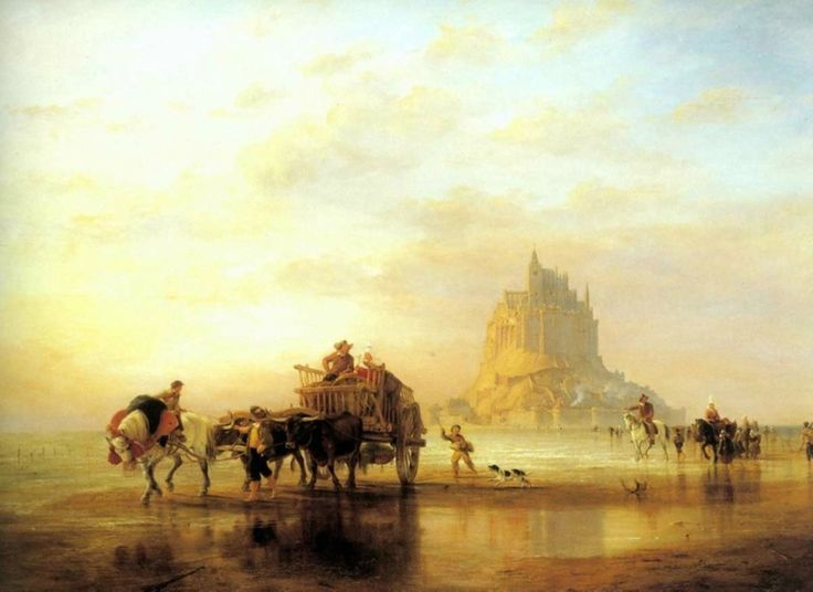 Edward William Cooke (1811-1880) Mont St Michel, Peasants returning to Pontorson on the Approach of the Tide (105 x 143 cm)