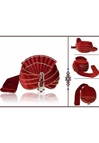 If You Are A Diva Who Loves To Turn Heads Wherever You Go & This Delightful Drape Is A Must-have Item For Your Closet. Be The Center Of Attraction With This Maroon Velvet Turban . This Attire Is Encrafted With Zari, Thread, Stone Work, Brooch And Stripes Work SHOP NOW @ http://www.JivaFashion.com
