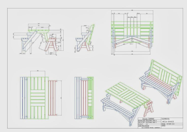 Planos muebles plegables buscar con google muebles - Banco convertible en mesa ...