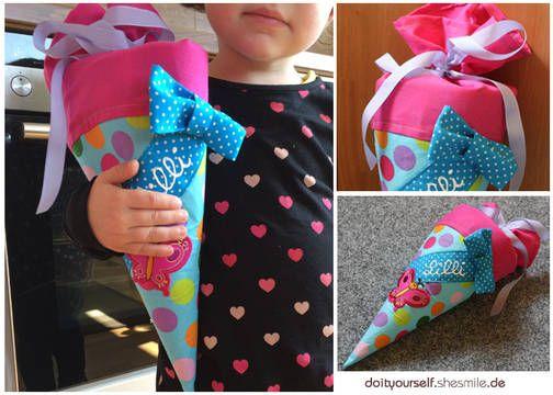 """Von mir entworfene und erstellte Nähanleitung für eine kleine Zuckertüte / Schultüte / Kindergartentüte mit Namensband und Schleife.  Das Innere, die Stabiliät bekommt die Tüte durch eine Filzeinlage.  Die praktische kleine Größe der Tüte ist optimal um die Tüte auch für andere Anlässe zu Nähen. Zum Beispiel als Überraschung zum 1. Arbeitstag? Ich bin gespannt was ihr draus macht! :)  UND! Die Tüte passt super zu meiner Nähanleitung """"Kindergarten-Tasche"""" ..."""