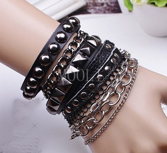 Puck rock black leather woven bracelet men fashion bracelet rivet ...