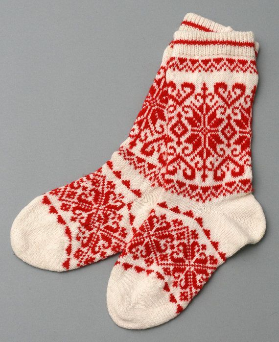 socks red women wool folklore eco friendly by helgihandicraft, $60 on etsy