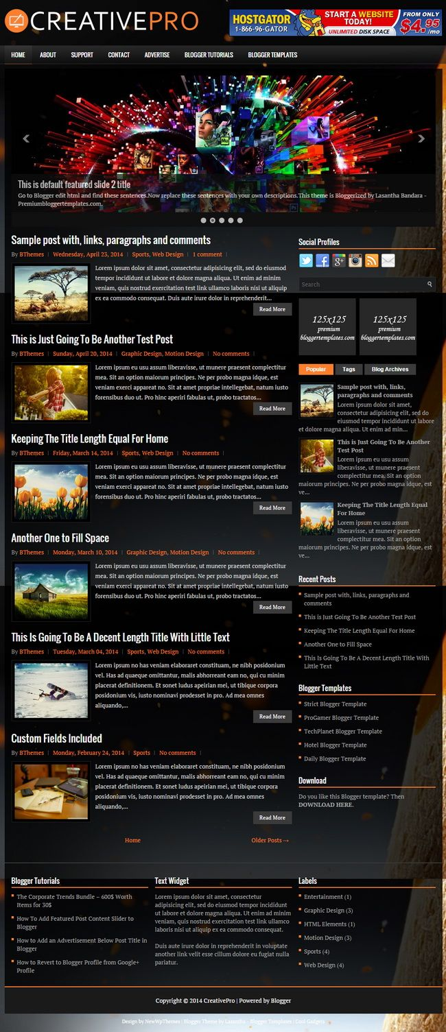 Creativepro Blogger Template: Creativepro Is A Responsive, 2 Columns  Blogger Template With Auto Read