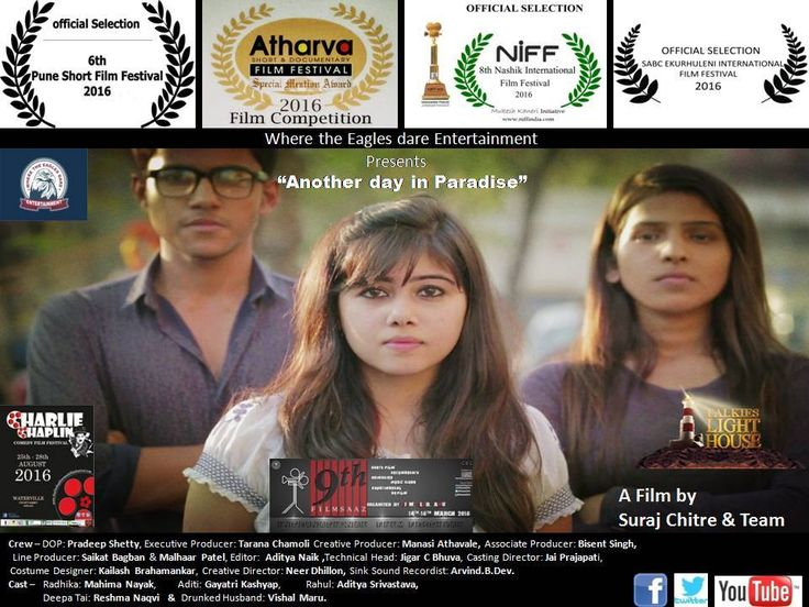 "#Filmycon #FFF #FilmTrivia Another day in Paradise is directed by Suraj Chitre who hails from the industry.  ""My film is a #social message that today's youth doesn't only talk but they #believe in results.  They come with #innovative ideas to bring the change they want to see"". This film has also been selected in 9 more film festivals. Another day in Paradise is selected in #FILMYCON - Open Online Film Festival 2016 #Shortfilms #filmfestival #Befilmy"