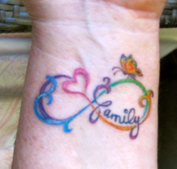 family Infinity tattoo- another fav for styling. NOT a huge fan of colored tattoos tho