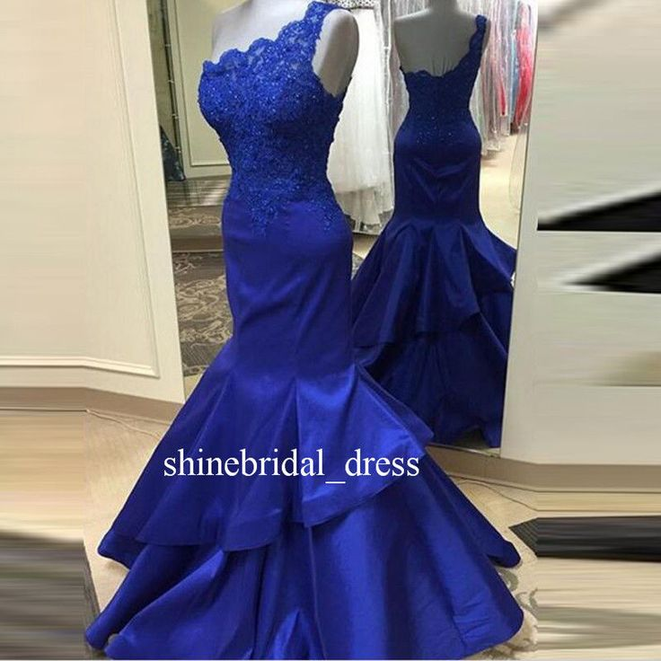 Royal Blue One Shoulder Mermaid Party Prom Wedding Formal Guest Pageant Dresses #UnbrandedGeneric #mermaid #Formal