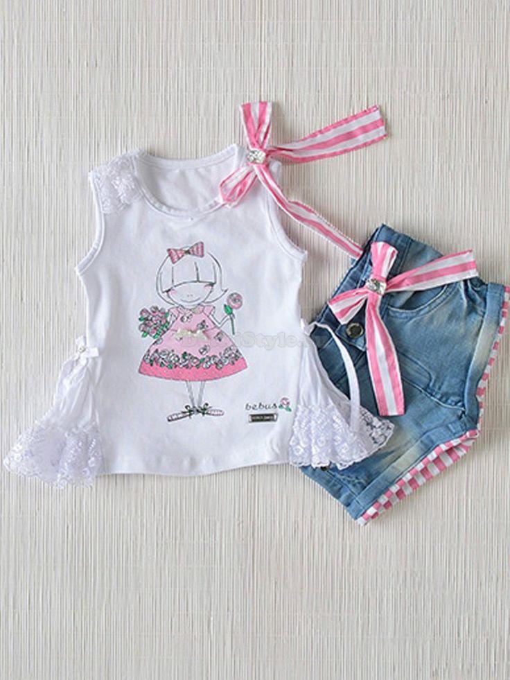 Купить комплект для девочки из 2-х предметов: футболку и шорты (0638) Bebus