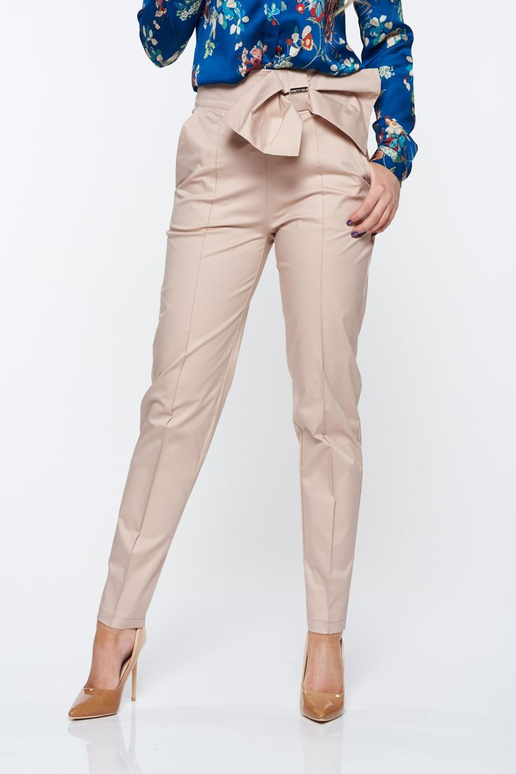 PrettyGirl nude trousers office conical slightly elastic fabric high waisted, women`s trousers, the pants have pockets, zipper fastening, slightly elastic fabric