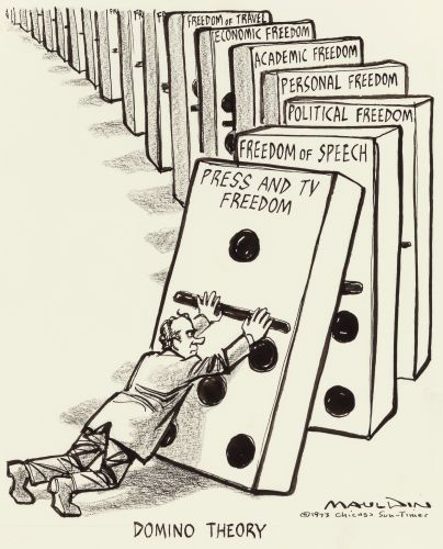 BILL MAULDIN - Domino Theory - Chicago Sun-Times editorial cartoon, January 17, 1973