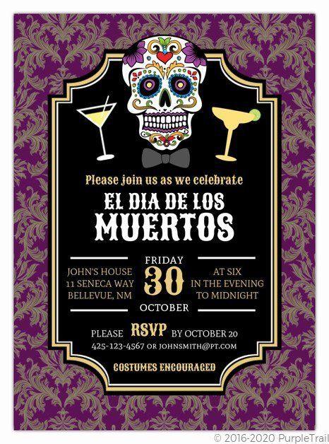 Dia De Los Muertos Invitation Inspirational Dia De Los Muertos Sugar Skull Damask Invitat In 2020 First Communion Invitations Party Invite Design Communion Invitations