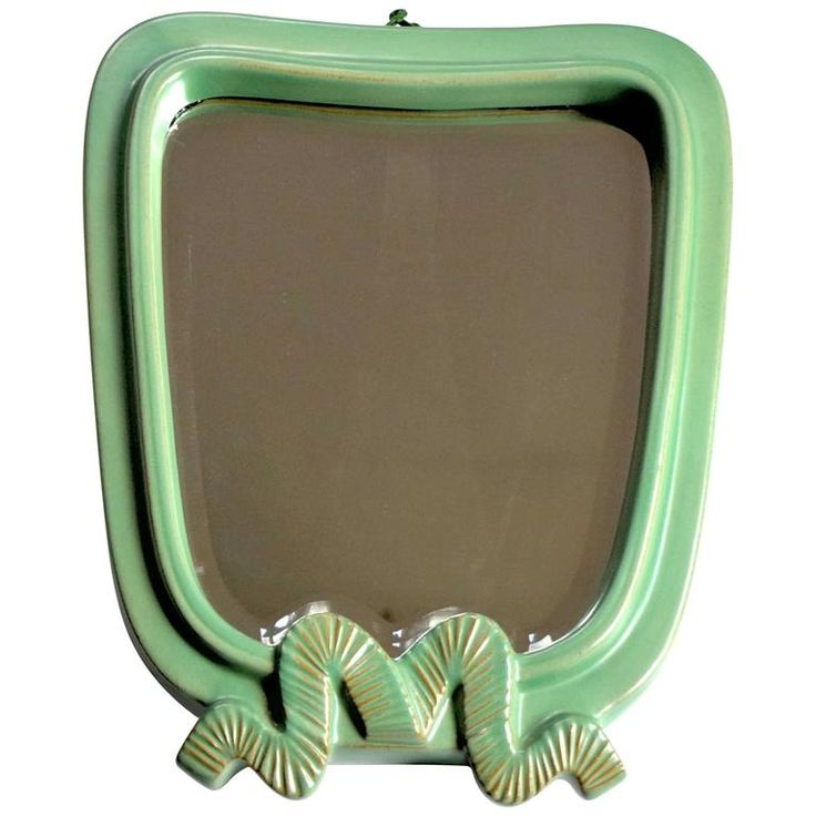 Large Art Deco Green Ceramic Wall Mirror by Gmundner Keramik | 1stdibs.com
