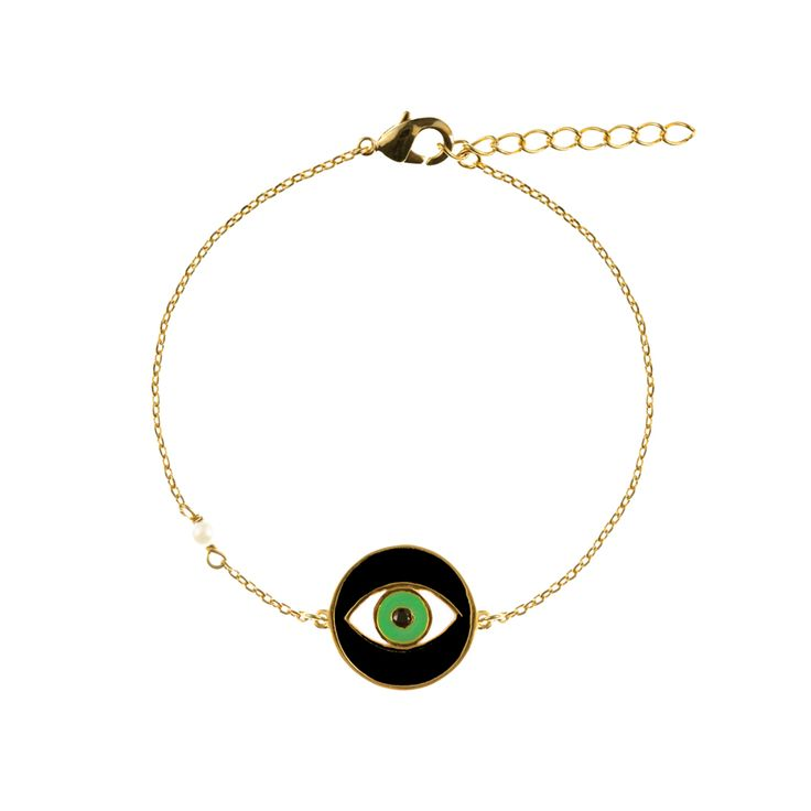 Ellie bracelet | $69. Fine chain bracelet crafted in 9ct gold plating, with large evil eye pendant motif in black, green and white enamel, and imitation pearl detail. Shop now: http://www.savethelastpinker.com.au/shop/ellie-bracelet/