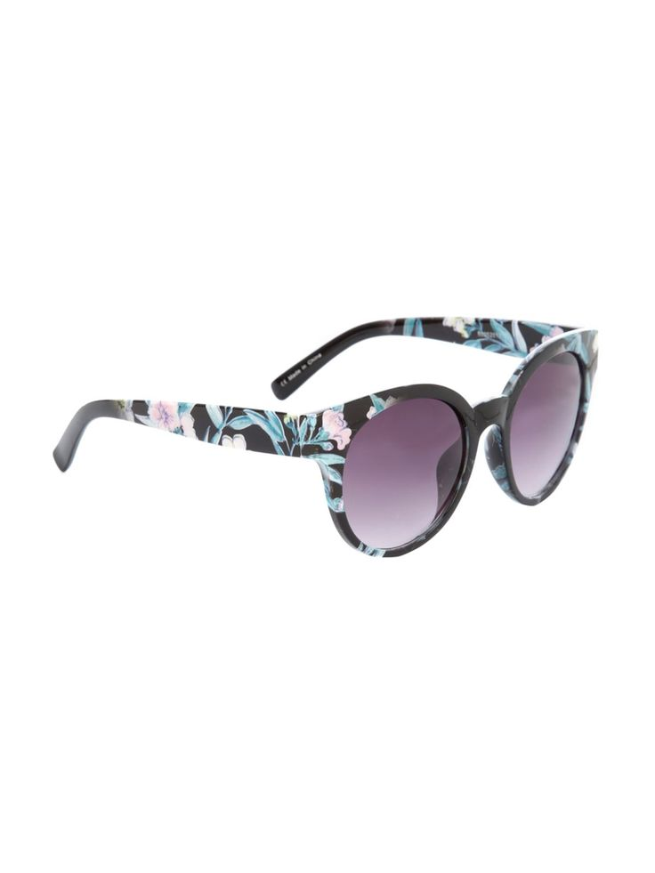 Give your sunglasses collection some flower power this season with this women's preppy floral version. Featuring floral trims and black lenses,  these sungla...