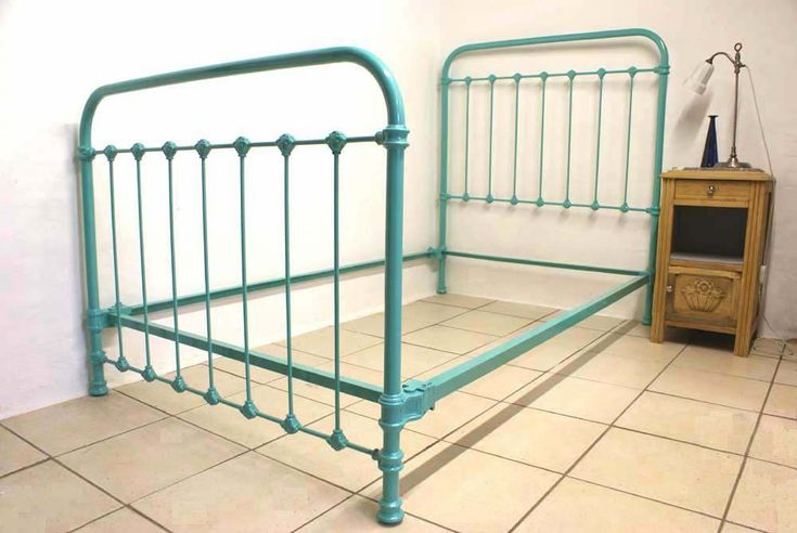 French Single Metal Bed Turquoise Blue