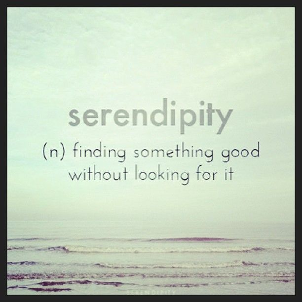 serendipity: finding something good without looking for it.. one of my favorite words .. ever.