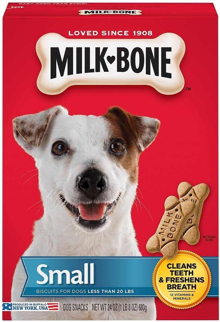 Milk-Bone Original Small Dog Biscuits are made with care especially for small dogs under 20 lbs. so you can enjoy special treat time moments with your tiny four-legged pal. These flavorful treats come in the classic bone shape you know and love in a smaller size that's great for training or everyday treating. The crunchy texture helps remove plaque and tartar buildup, clean your dog's teeth and even freshen his breath as he chews. These powerhouse biscuits also contain twelve vitamins and…