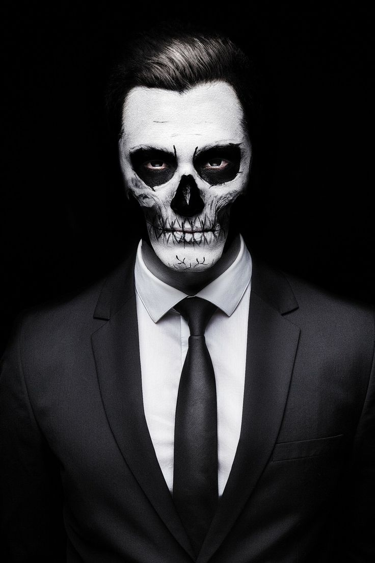 guy with skeleton face wearing a suit - Skeleton Faces Halloween