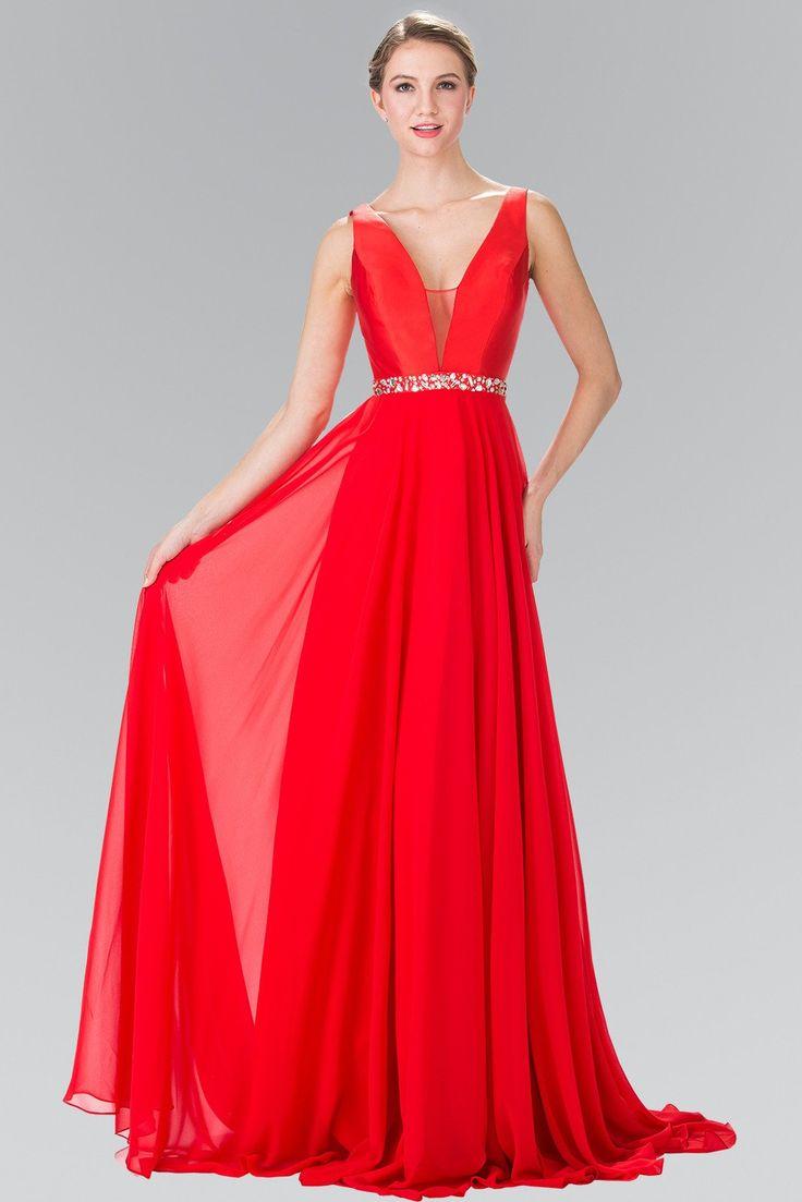 Long Red Chiffon Dress with Beaded Waist by Elizabeth K GL2293