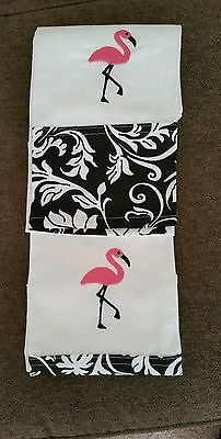 Set of 2 Tropical Pink Flamingo Hand Towel Dishtowel Black and White Bottom