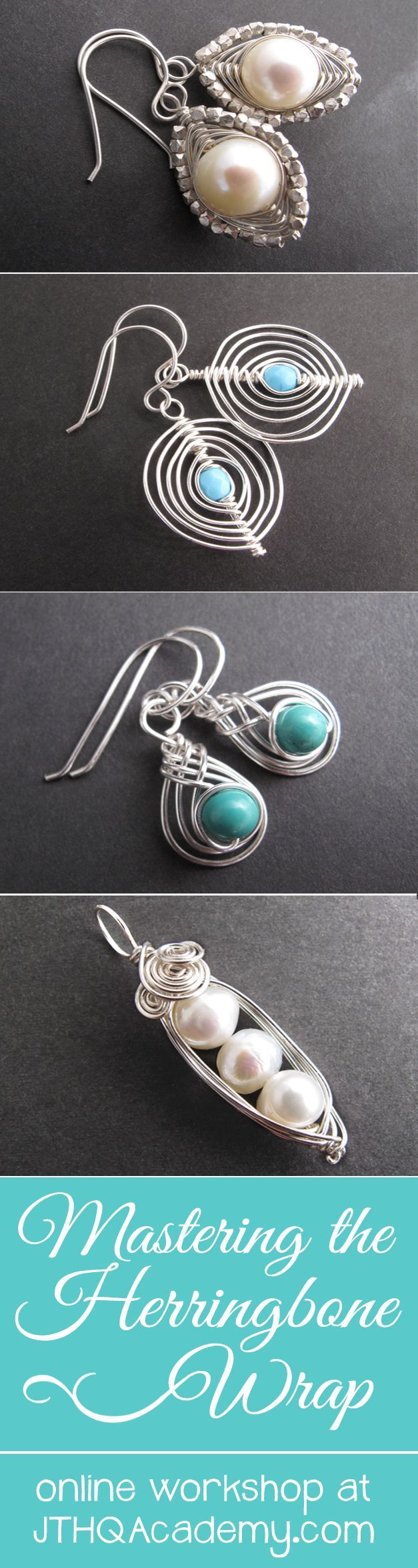 Learn all these herringbone wire jewelry designs and MORE as part of this online #jewelrymaking workshop. Click to see more or enroll at http://academy.jewelrytutorialhq.com