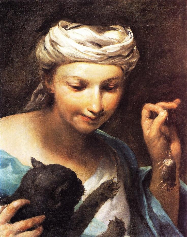Ragazza con gatto e topolino, G.M. Crespi