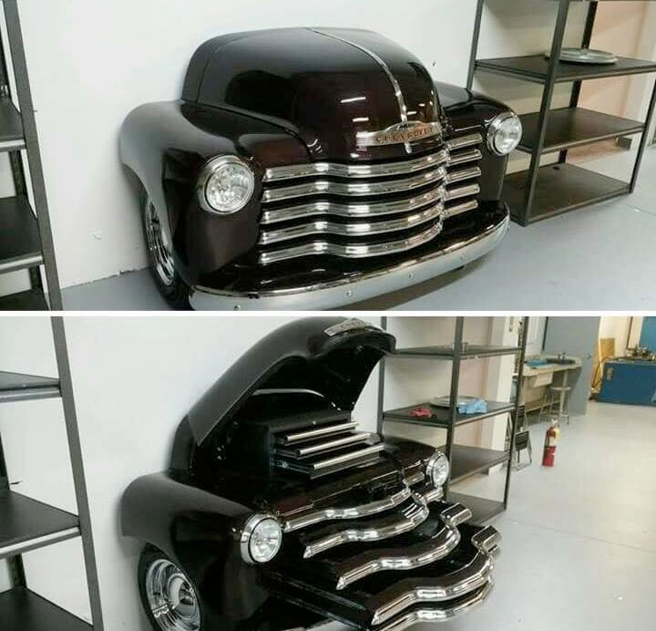 World's neatest toolbox made of an old Chevy Advanced Design pickup grill