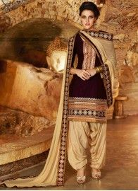 Trendy Cream and Purple Patiala Suit. Fillyz.com - USD $27.90