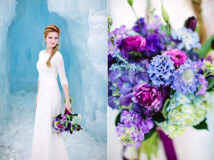 Look - Frozen Disney wedding ideas winter wedding flowers video
