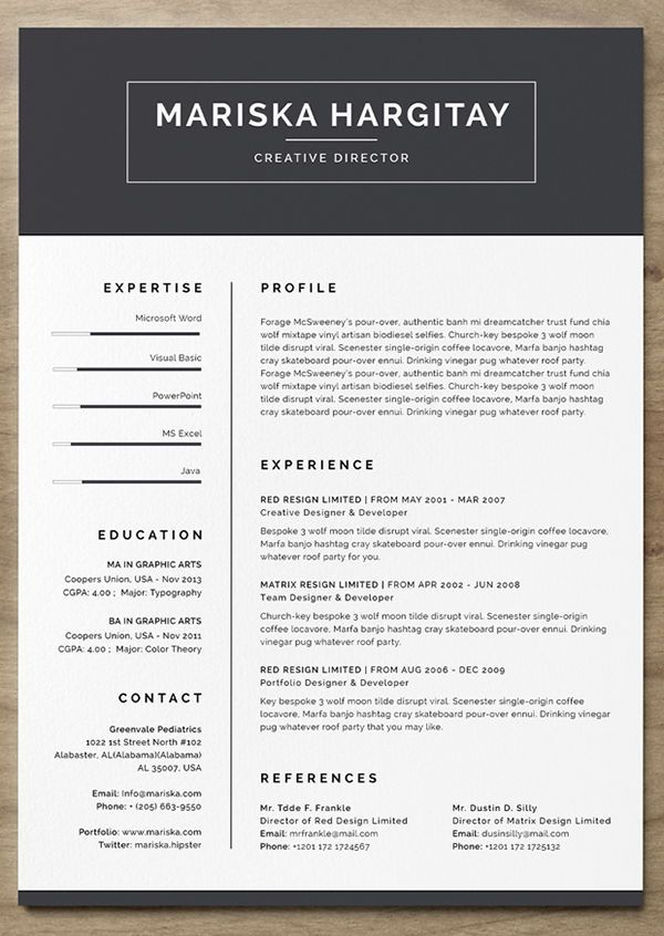 163 best resume images on Pinterest Resume template download - creative resume template download free