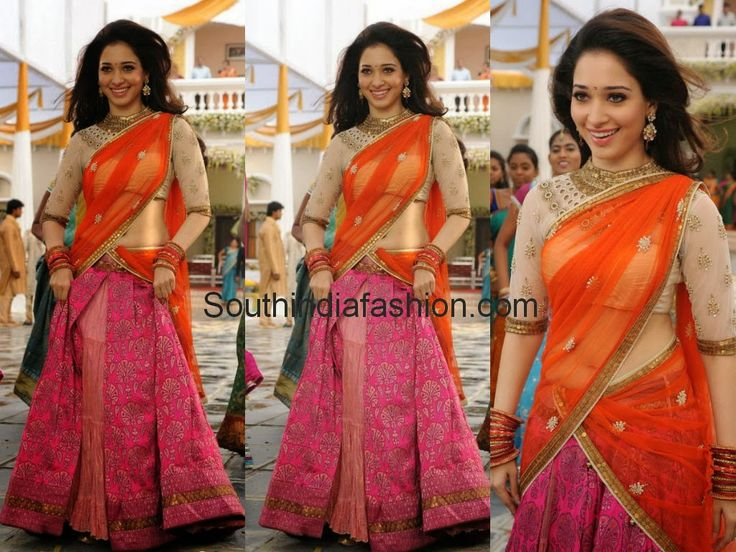 Tamanna In Tadakha Halfsaree: Tamanna In Stylish Half Saree Celebrity Sarees, Designer