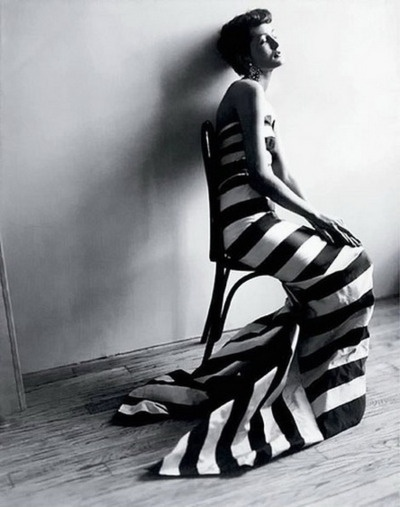Maxime De La Falaise wearing fish-tailed striped gown by Paquin. Photo: Cecil Beaton, 1950.