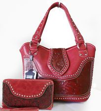Montana West® Concealed Carry Western Bag w/ tooled Leather Accents + Wallet- RD