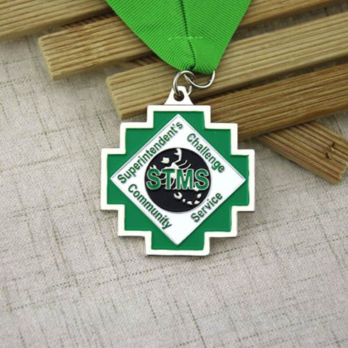 The green award medals are for STMS, it features with