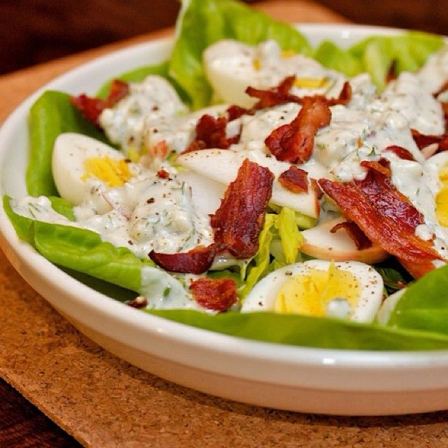 """Reward for 8k run: salad w/ eggs, bacon & Dragon's Breath blue cheese dressing #cdncheese #simplepleasures"" - Feistychef"