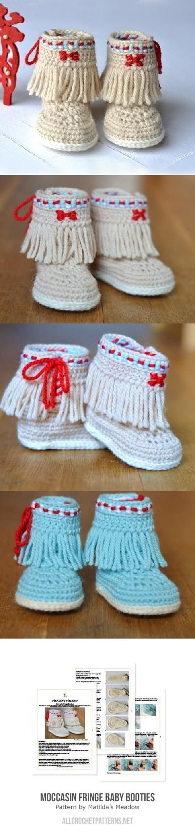 Baby Moccasin Fringe Booties Crochet Pattern