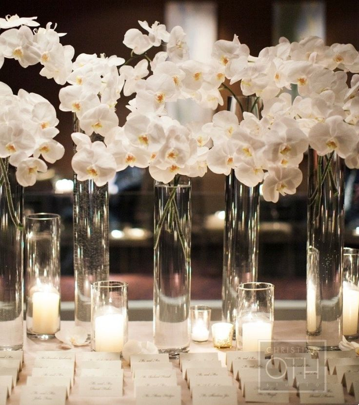 Christian Wedding Reception Ideas: White Orchid Wedding Centerpieces #wedding #centerpiece