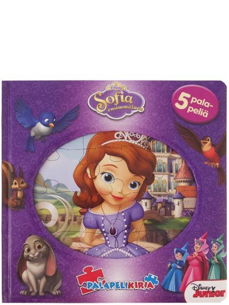 Sofia ensimmäinen -palapelikirjassa Sofia ottaa ensiaskeleita prinsessakengissään. Upea kirja sopii hyvin myös lahjaksi. 5 palapeliä, joissa kussakin 12 palaa. 3+