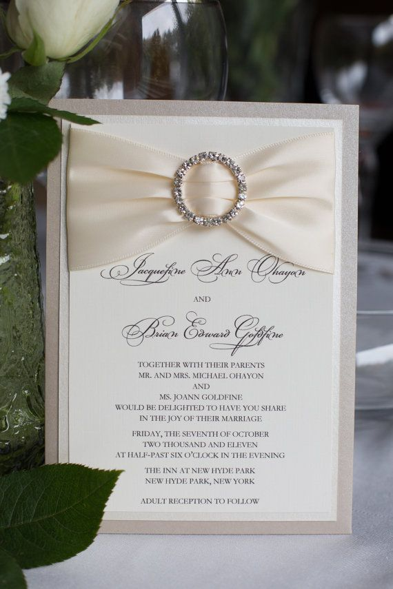 Couture wedding invitation ivory and by eleven18designstudio, $8.05