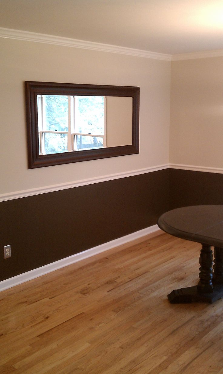 two toned color with dark brown trim in bathroom | Ben George Painting make your space beautiful