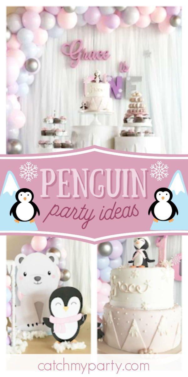 Penguins Birthday Arctic Penguin Party Catch My Party In 2020 2nd Birthday Party For Girl Penguin Birthday Party Penguin Party
