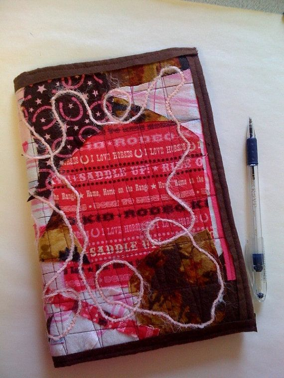"""Cowgirl Pink Flannel Crazy Quilt Notebook by StarBoundWestern,   Fits 6""""x9"""" coil notebook, Bible or favorite book.  $25.00"""