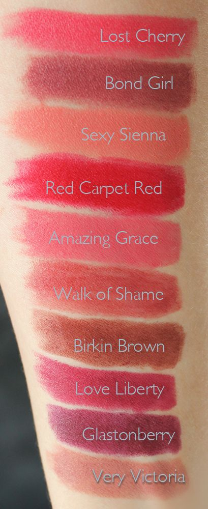 Charlotte Tilbury Matte Revolution Luminous Modern-Matte Lipsticks Swatches