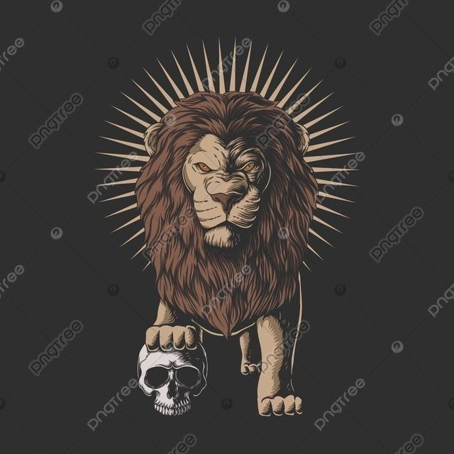 Lion Stepped On A Human Skull Vector Illustration Lion King Clipart Africa African Png And Vector With Transparent Background For Free Download Skull Illustration Vector Illustration Human Skull