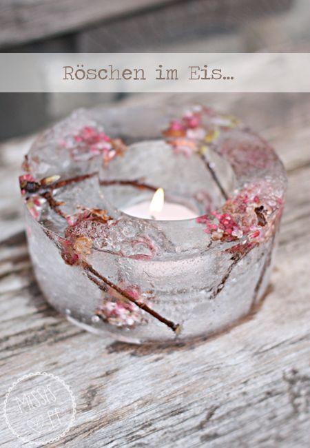 Eiswindlicht mit Winterschneeball :: DIY ice lantern