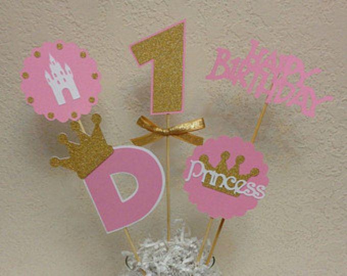 Centro de mesa de princesa corona brochetas de color de rosa y oro - cumpleaños bebé ducha - cumpleaños real, corona cumpleaños, princesa cumpleaños centro de mesa